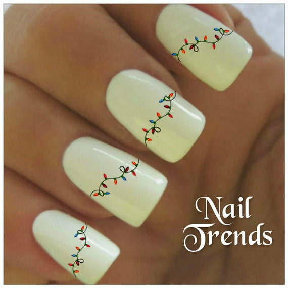 Christmas Lights Nail Art: Christmas Lights Nail Decal Vinyl Adhesive Decals Nail