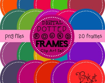 20 png BOLD digital dotted round frames!