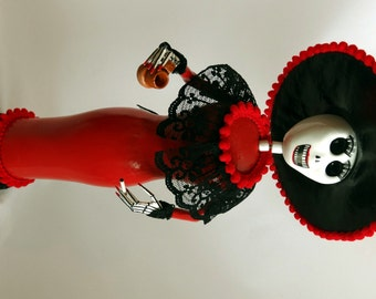 Red Catrina, Handmade Dia de Los Muertos Day of the Dead