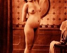 "Vintage Risque Nude Exotic - Bathroom #003 Canvas Art Poster 16"" x 24"""