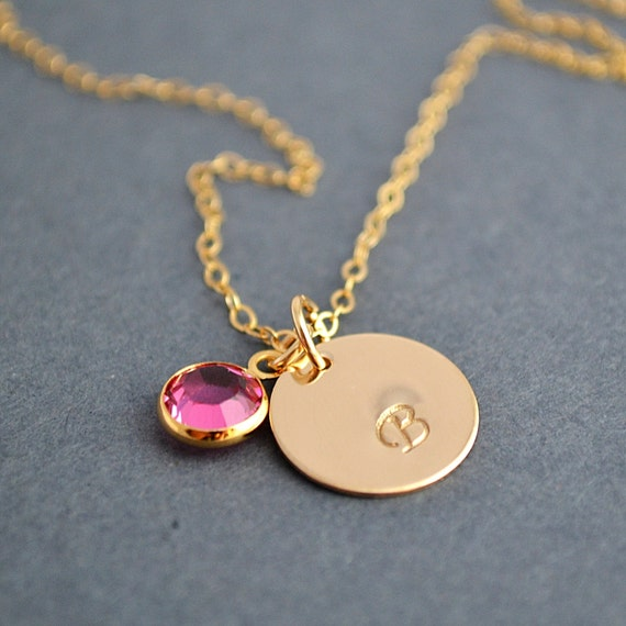 gold disc necklace initial disc necklace with birthstone. Black Bedroom Furniture Sets. Home Design Ideas