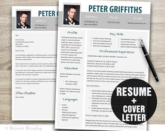 Resume Template  with Cover Letter Instant Download / Resume with Photo / Resume Design
