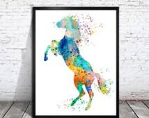 Colorful Horse , Watercolor Print, watercolor painting, watercolor art, Illustration,home decor wall art, watercolor animal, Horse poster