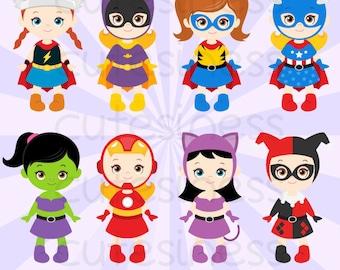 Superhero Digital Clipart, Superhero Clipart, Supergirl Clipart