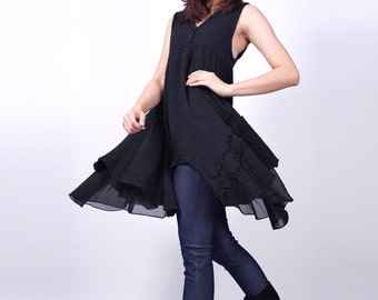 Cloud Fly Away - black - Sleeveless Tunic Dress - idea2love