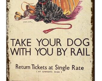 Dog Train Railway Poster Vintage Metal Sign Retro Tin Plaque Advert