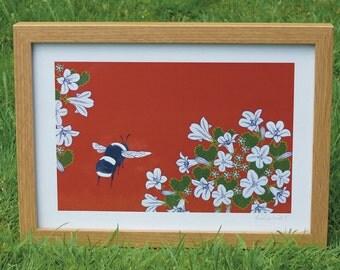 Bumblebee & bellflower A4 print