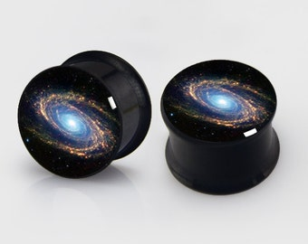 Custom Galaxy  Ear plugs (2pcs pairs),Nebula,Milkway, Resin Pairs Earlets Tunnels, Titanium Screw On Backs,DIY image Plugs