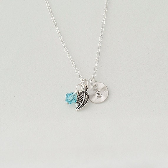Birthstone Necklace, Personalized Initial Silver Nnecklace, Swarovski Crystal Necklace