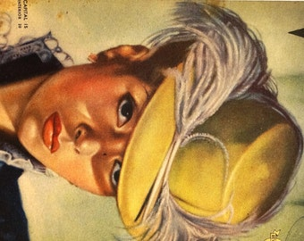 VOSOTRAS Cover Art - 1940 - Pretty Girl in FEATHER HAT - From Spanish Argentina Magazine - Matted Print Ready to Frame