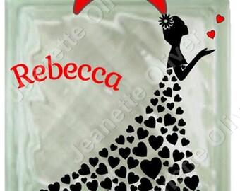 Heart Dress Design for Glass Blocks, Cards or Framing SVG Digital Cutting File