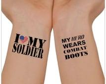 Temporary Tattoo Love My Soldier Wrist Tattoos My Hero Wears Waterproof Thin Durable