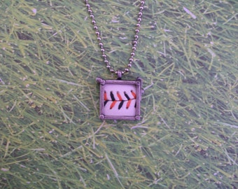 Baseball Necklace- Orange/Black Stitches Limited Edition- Glass Back- Square 3/4 inch
