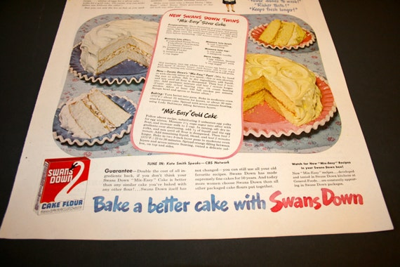 Cake Ad  Retro Kitchen  Swans Down Cake Mix Advertisement  1960 s    Retro Kitchen Ad