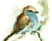 Bird Watercolor Painting Art Print, Bird Painting Watercolour Wall Art