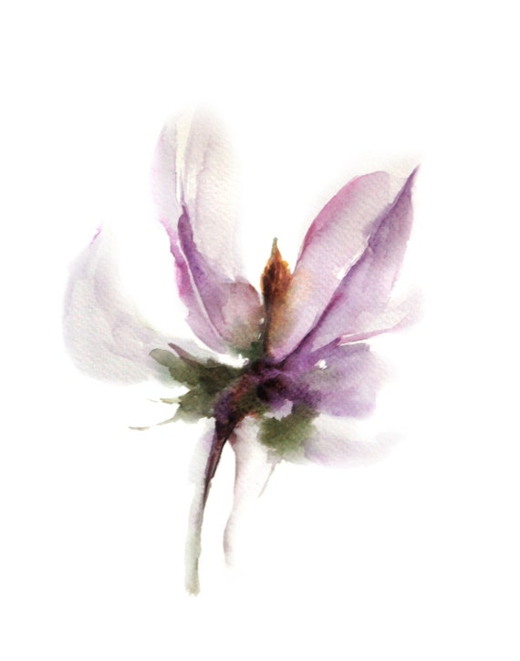 Abstract minimalist flower watercolor painting by for Abstract watercolour flowers
