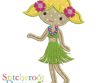 Hula Girl Applique Design -In Hoop sizes 5 x 7, 9x9- Instant Download - for Embroidery Machines
