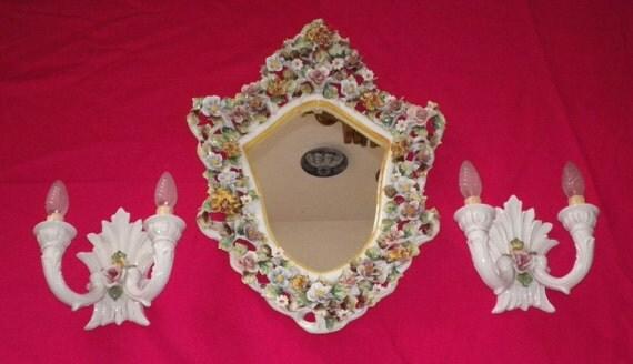 Grande Specchio in Porcellana con Applique '900 Stile Floreale Liberty