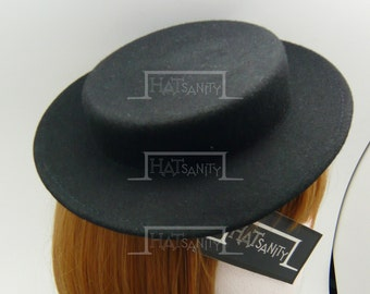 TRENDY Fashion Plain Wool Felt Mini Boater Hat Fascinator DIY - Black