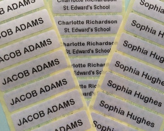 50 or 100 Name Tapes/Labels IRON-ON School Uniform tags Pre-Cut Soft satin fabric