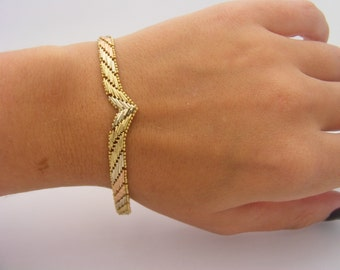 14K Yellow Gold Tri-Color Braided Design Bracelet