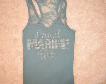Proud Marine Wife Tank . Proud Marine Wife . Support the Marines . Military Love . Military Support . Marine Deployment Support . Army Love