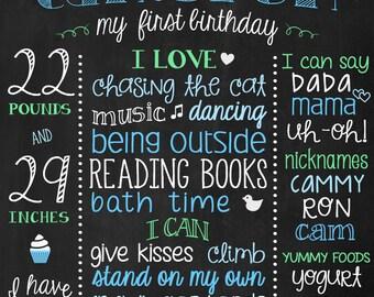 Printable First Birthday Poster - Chalkboard Birthday Sign - 1st Birthday Custom Sign - Blue and Green Boys Birthday Printable