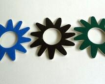 SALE 50% off ,Set of 3 foam and felt flowers on blue, green and dark green , scrapbook flowers