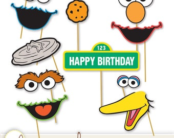 Sesame Street Printable Photo Booth Props - Elmo, Cookie Monster, Oscar the Grouch, Big Bird, Bert & Ernie+ INSTANT DOWNLOAD / DIY, Digital