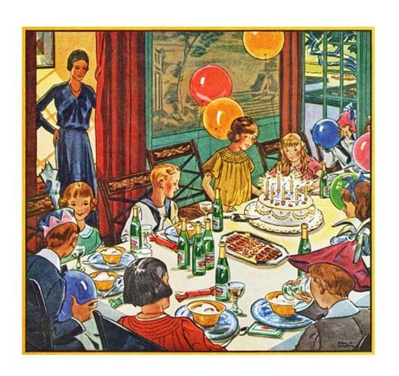 1930 S Kids Birthday Party Digital Image Cute For