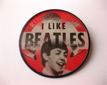I Like Beatles Pin-Back Button - 1960s Vari-Vue Flasher Lenticular Vintage - Beatles Button!
