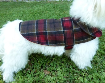 Red & Brown Plaid Wool Dog Coat with Quilted Lining and Cotton Interlining