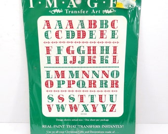 Christmas Letters Vintage 1980s Meyercord Christmas Decor Transfer Decals FREE Domestic Shipping