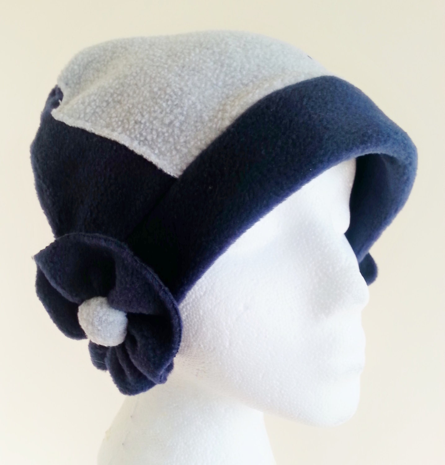 navy and gray womens fleece hat with navy flowers