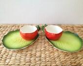 Vintage Holt Howard 1962  Lettuce Leaf Plate & Tomato Cup. Two Complete Sets
