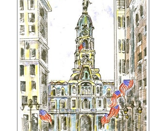 Philadelphia City Hall.  Blank Note Card. Customized message.