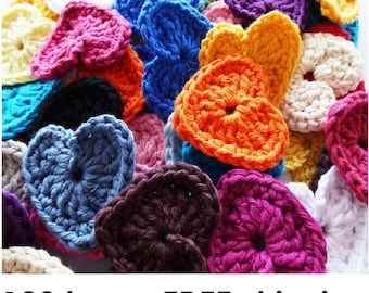 Crochet Heart, 100 x 3cm, Various Colours, Free Shipping