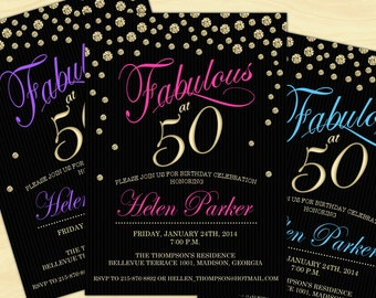 50th Birthday Invitation / 30th / 40th/ / 50th / 60th / Any Age / Digital Printable Invitation / Customized
