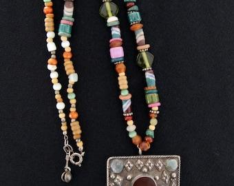 Indian bright earth tones w stone pendant