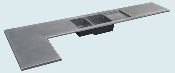 Stainless countertop with integral sink by handcraftedmetal for Stainless steel countertop with integral sink