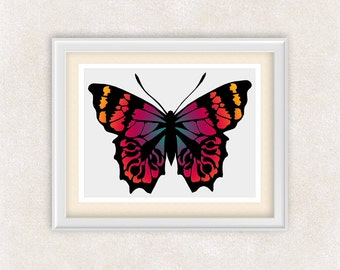 Bright Colorful Butterfly Print - 8x10 PRINT - Silhouette - Insect Art - Butterflies - Item #548C