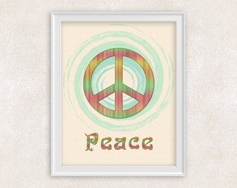 Colorful Peace Sign - 8x10 Art Print - Home Decor - Office Art - Item #505-C