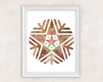 Snowflake Watercolor Print - Home Decor 8x10 PRINT - Item #729A