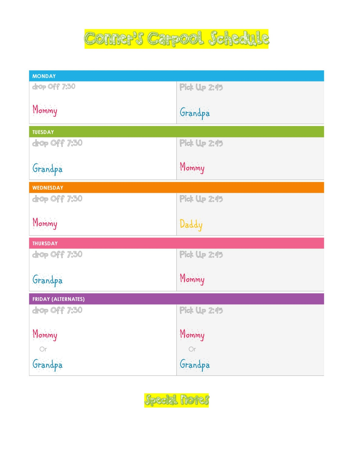 Carpool schedule by clmtemplates on etsy for Carpool calendar template