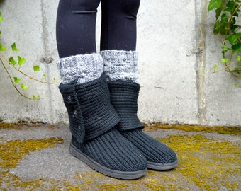 Boot Cuffs, Boot Toppers, Leg Warmers, Boot Warmers / THE  ALSEAS / stone gray