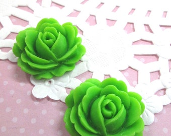 Lime Green Rose Flower Cabochons, 26x22mm Flower Cabs