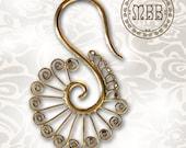 "Pair of Ornate 12g (2mm)  Antiqued Tribal Hoops Brass Earrings Large 2"" inch 53mm length 1"" 1/4 inch width Yoga"