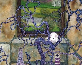 """Greetings card: """"Dichotamouse"""" -  mystical card, white mice, candlesticks, magic, branches, purple, from a painting by Liz Clarke"""