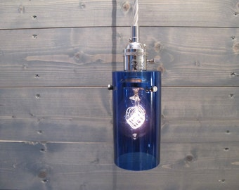 Recycled Vodka Bottle Pendant Light - Large Blue Cylinder - Upcycled Industrial Glass Ceiling Light