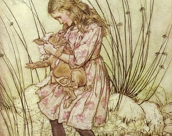 "Arthur Rackham ""Alice holding baby pig"" 1907 Reproduction Digital Print Alice Baby Pig  Alice In Wonderland"